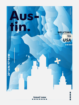 Modern United States of America USA Austin Texas skyline abstract gradient poster art. Travel guide cover city vector illustration Ilustração