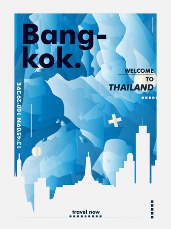 Modern Thailand Bangkok skyline abstract gradient poster art. Travel guide cover city vector illustration Illustration