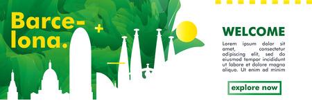 Modern Spain Barcelona skyline abstract gradient website banner art. Travel guide cover city vector illustration