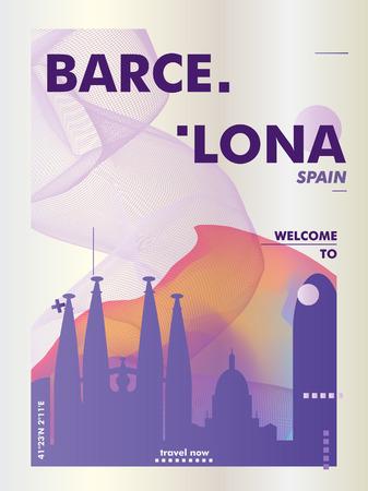 Modern Spain Barcelona skyline abstract gradient poster art. Travel guide cover city vector illustration