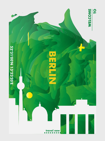 Modern Germany Berlin skyline abstract gradient poster art. Travel guide cover city vector illustration
