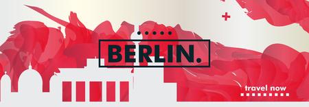 Modern Germany Berlin skyline abstract gradient website banner art. Travel guide cover city vector illustration
