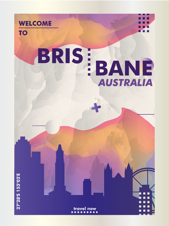 Modern Australia Brisbane skyline abstract gradient poster art. Travel guide cover city vector illustration Ilustração