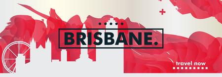 Modern Australia Brisbane skyline abstract gradient poster art. Travel guide cover city vector illustration 일러스트
