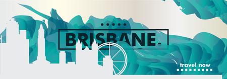 Modern Australia Brisbane skyline abstract gradient poster art. Travel guide cover city vector illustration Illustration