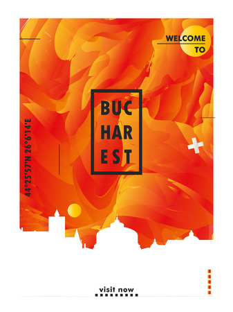 Modern Romania Bucharest skyline abstract gradient poster art. Travel guide cover city vector illustration