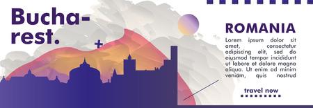 Modern Romania Bucharest skyline abstract gradient website banner art. Travel guide cover city vector illustration