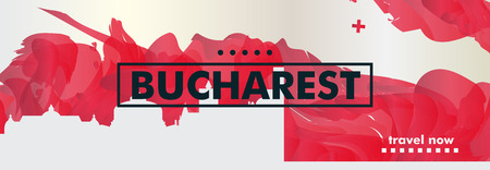 Modern Romania Bucharest skyline abstract gradient website banner art. Travel guide cover city vector illustration Ilustracja
