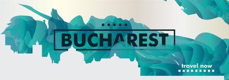 Modern Romania Bucharest skyline abstract gradient website banner art. Travel guide cover city vector illustration Vettoriali