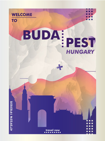 Modern Hungary Budapest skyline abstract gradient poster art. Travel guide cover city vector illustration 일러스트