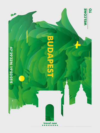 Modern Hungary Budapest skyline abstract gradient poster art. Travel guide cover city vector illustration Ilustracja