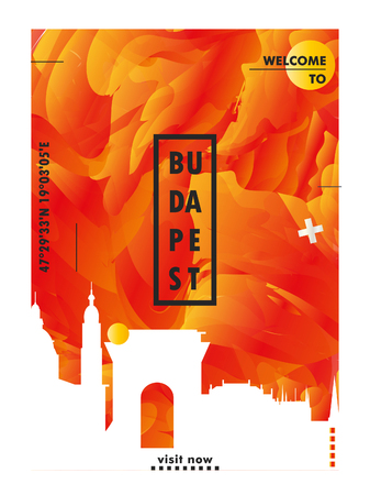 Modern Hungary Budapest skyline abstract gradient poster art. Travel guide cover city vector illustration 向量圖像