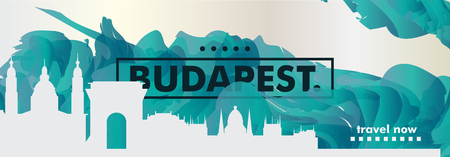 Modern Hungary Budapest skyline abstract gradient poster art. Travel guide cover city vector illustration Vectores