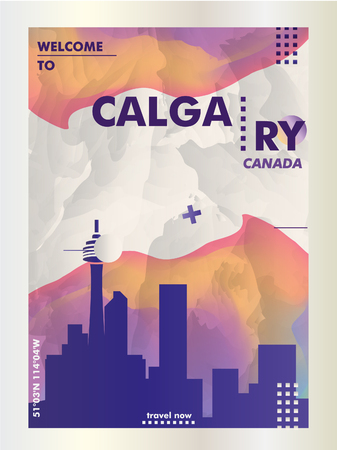 Modern Canada Calgary skyline abstract gradient poster art. Travel guide cover city vector illustration 일러스트