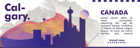 Modern Canada Calgary skyline abstract gradient website banner art. Travel guide cover city vector illustration