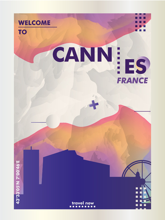 Modern France Cannes skyline abstract gradient poster art. Travel guide cover city vector illustration