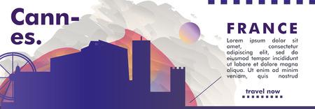 Modern France Cannes skyline abstract gradient website banner art. Travel guide cover city vector illustration