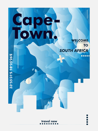 Modern South Africa Cape Town skyline abstract gradient poster art. Travel guide cover city vector illustration