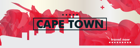 Modern South Africa Cape Town skyline abstract gradient website banner art. Travel guide cover city vector illustration