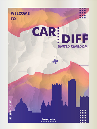 Modern UK United Kingdom Wales Cardiff skyline abstract gradient poster art. Travel guide cover city vector illustration