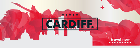 Modern UK United Kingdom Wales Cardiff skyline abstract gradient website banner art. Travel guide cover city vector illustration