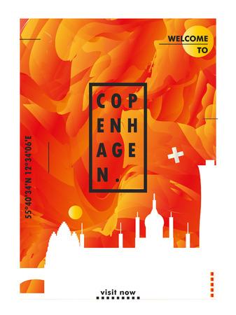 Modern Denmark Copenhagen skyline abstract gradient poster art. Travel guide cover city vector illustration Ilustracja