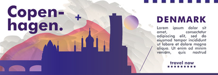 Modern Denmark Copenhagen skyline abstract gradient website banner art. Travel guide cover city vector illustration