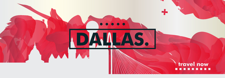 Modern USA United States of America Dallas skyline abstract gradient website banner art. Travel guide cover city vector illustration Banque d'images - 105336866