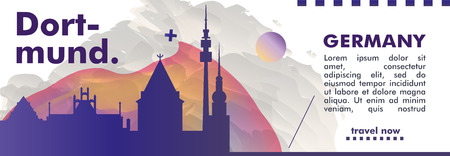 Modern Germany Dortmund skyline abstract gradient website banner art. Travel guide cover city vector illustration Illustration