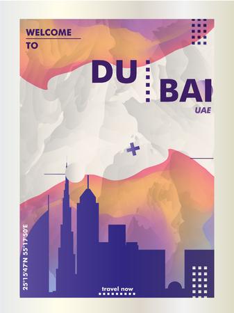 Arte moderna del manifesto di pendenza astratta dell'orizzonte di Dubai Emirati Arabi Uniti Emirati Arabi Uniti. Illustrazione di vettore della città di copertina della guida di viaggio Vettoriali