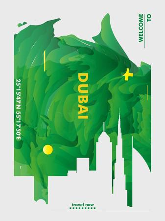 Arte moderna del manifesto di pendenza astratta dell'orizzonte di Dubai Emirati Arabi Uniti Emirati Arabi Uniti. Illustrazione di vettore della città di copertina della guida di viaggio