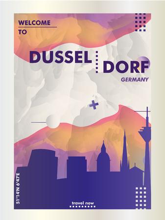 Modern Germany Dusseldorf skyline abstract gradient poster art. Travel guide cover city vector illustration Illustration