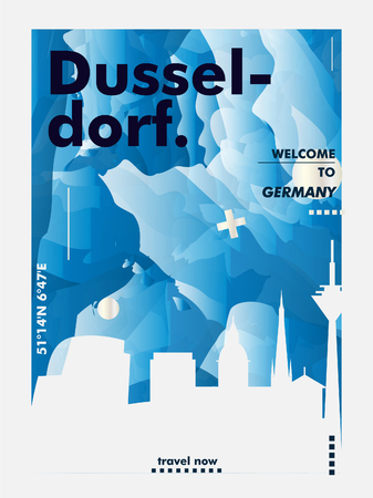Modern Germany Dusseldorf skyline abstract gradient poster art. Travel guide cover city vector illustration