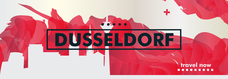 Modern Germany Dusseldorf skyline abstract gradient website banner art. Travel guide cover city vector illustration