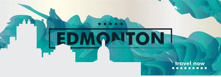 Modern Canada Edmonton skyline abstract gradient website banner art. Travel guide cover city vector illustration