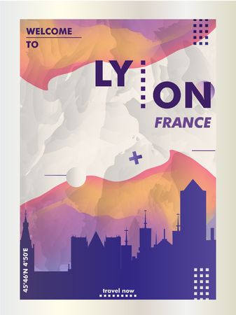 Modern France Lyon skyline abstract gradient poster art. Travel guide cover city vector illustration