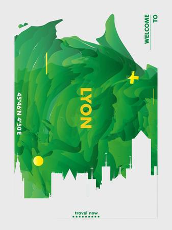 Modern France Lyon skyline abstract gradient poster art. Travel guide cover city vector illustration