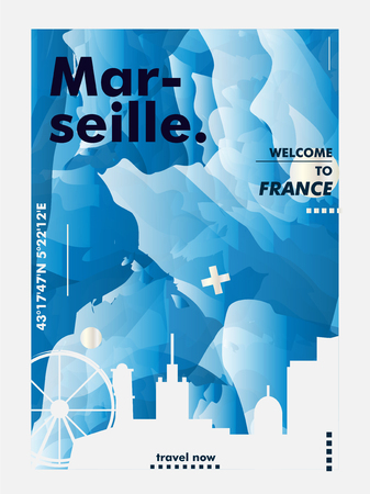 Modern France Marseille skyline abstract gradient poster art. Travel guide cover city vector illustration