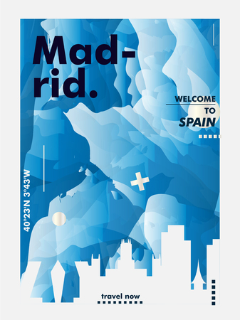 Modern Spain Madrid skyline abstract gradient poster art. Travel guide cover city vector illustration Ilustracja