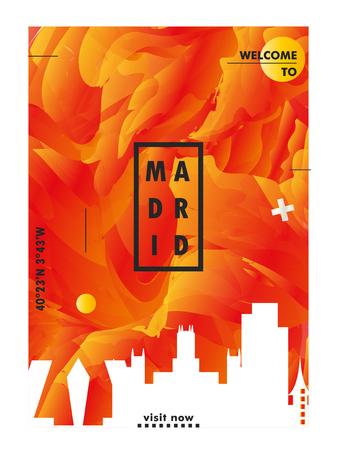 Modern Spain Madrid skyline abstract gradient poster art. Travel guide cover city vector illustration Illustration