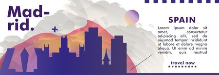 Modern Spain Madrid skyline abstract gradient website banner art. Travel guide cover city vector illustration