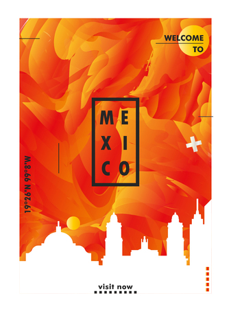 Modern Mexico city skyline abstract gradient poster art. Travel guide cover vector illustration