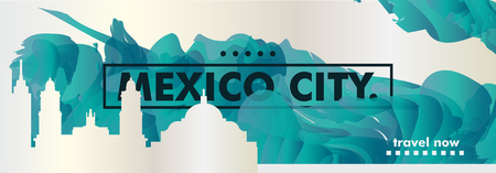 Modern Mexico city skyline abstract gradient website banner art. Travel guide cover vector illustration