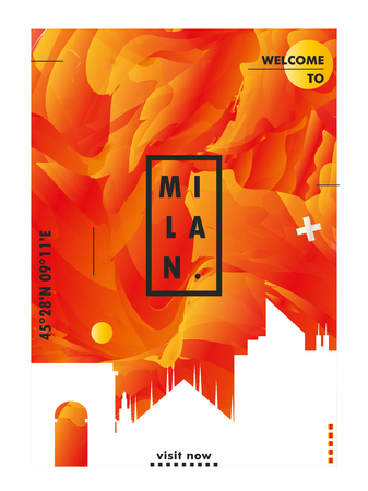 Modern Italy Milan skyline abstract gradient poster art. Travel guide cover city vector illustration