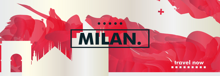 Modern Italy Milan skyline abstract gradient website banner art. Travel guide cover city vector illustration