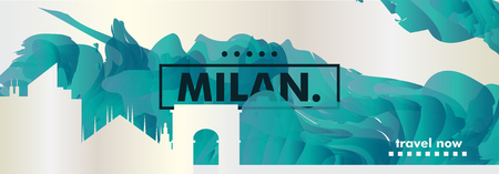 Modern Italy Milan skyline abstract gradient website banner art. Travel guide cover city vector illustration Zdjęcie Seryjne - 114081313