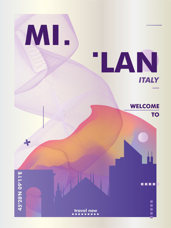 Modern Italy Milan skyline abstract gradient poster art. Travel guide cover city vector illustration Zdjęcie Seryjne - 114081314