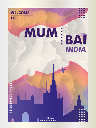 Modern India Mumbai skyline abstract gradient poster art. Travel guide cover city vector illustration Zdjęcie Seryjne - 114081315