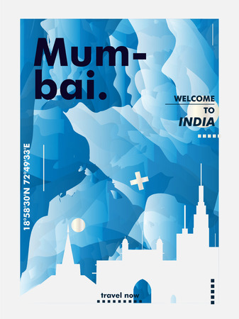 Modern India Mumbai skyline abstract gradient poster art. Travel guide cover city vector illustration Zdjęcie Seryjne - 114081316