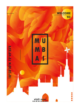 Modern India Mumbai skyline abstract gradient poster art. Travel guide cover city vector illustration